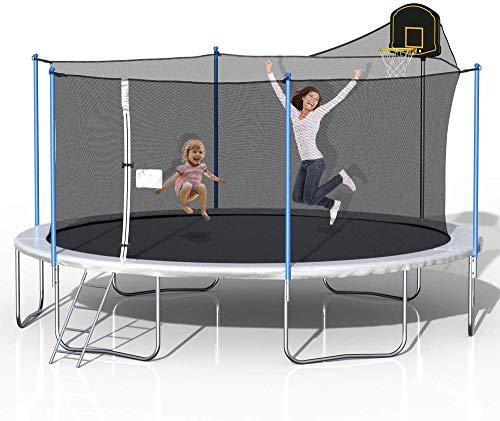 GFSDGF 16FT Trampoline con gabinete de Seguridad Red de Baloncesto Aro y Escalera Trampolín al Aire Libre para niños Adultos Trampolín de Servicio Pesado