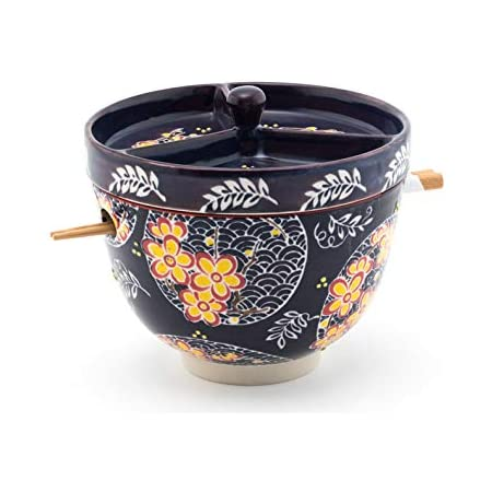 Asian Fusion Floral Mira Design Japanese Design Quality Ceramic Ramen Udong Soba Tempura Noodle Bowl with Chopsticks and Condiment Lid 6 Inch Diameter