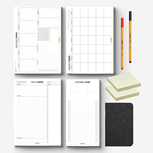 Planer-Set von Mille Sanders (10-teilig) - Planerblöcke, Notizheft, Fineliner, Haftnotizen, Productivity E-Book - Tagesplaner, Wochenplaner, Monatsplaner, Aufgabenplaner