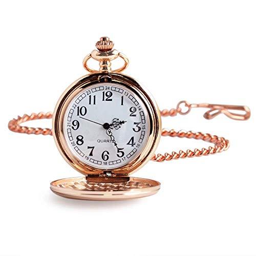 QZH Reloj de bolsillo clásico para hombre, con cara suave, mecánico, con bolsillo, para graduación, regalo de cumpleaños, mejor hombre, clásico, cara lisa, mecánica, color dorado, tamaño libre;