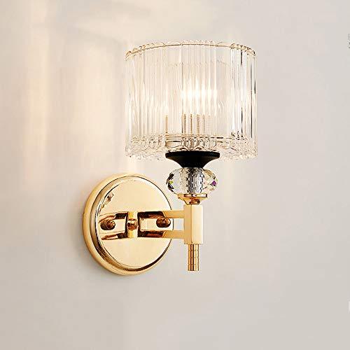 Rishx Métal doré LED Applique Postmoderne Exquis Cristal Applique À La Maison Décoration Applique Salon TV Applique Murale Chambre Chevet Lanterne E14 Verre Allée Escalier