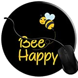 MISQY Round Gaming Mouse Pad Bumble Bee Happy, 7 inch Non-Slip Rubber Mousepad Mat for Desktops, Computer, PC and Laptops 2C252