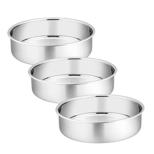 6 Inch Round Cake Pan, P&P CHEF 3-Pieces Stainless Steel Oven Baking Pans, Heavy Duty & Non Toxic, One-piece Molding & Straight Side, Mirror Finish & Dishwasher Safe