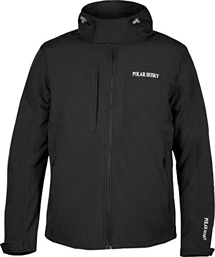 Polar Husky® Herren Softshell Jacke mit Kapuze in verschiedenen Ausführungen S-XXXL Farbe Schwarz Größe M