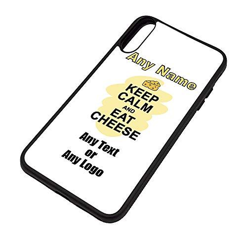 UNIGIFT Gepersonaliseerd geschenk - Houd kalm eten kaas iPhone Xs Max Case (Voedselontwerp) Elke Naam Bericht Unieke Apple TPU Cover - Draag Poster Party Dieet Snack Cake Chocolade Chips Fruit Cream Veg Pizza