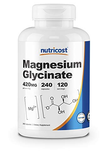 Nutricost Magnesium Glycinate 420mg, 240 Capsules - 120 Servings, Non-GMO, Gluten Free, Vegetarian Friendly