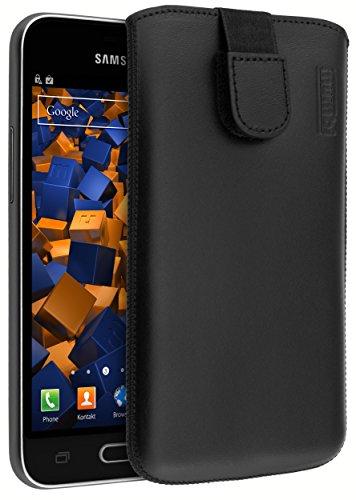 mumbi ECHT Ledertasche Samsung Galaxy J1 (2016) Tasche Leder Etui (Lasche mit Rückzugfunktion Ausziehhilfe)