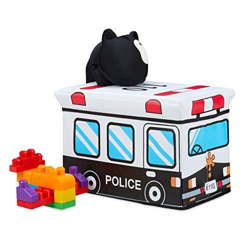 Relaxdays Spielzeugkiste faltbar, Polizei, Aufbewahrungsbox mit Stauraum & Deckel, gepolstert, HBT 34 x 49 x 31 cm, weiß, 1 Stück