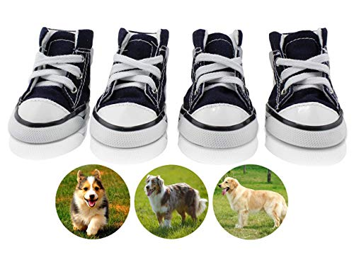 abcGoodefg Pet Dog Puppy Canvas Sport Shoes Sneaker Boots, Outdoor Nonslip Causal Shoes, Rubber Sole+Soft Cotton Inner Fabric (#4(1.732.20), Blue)