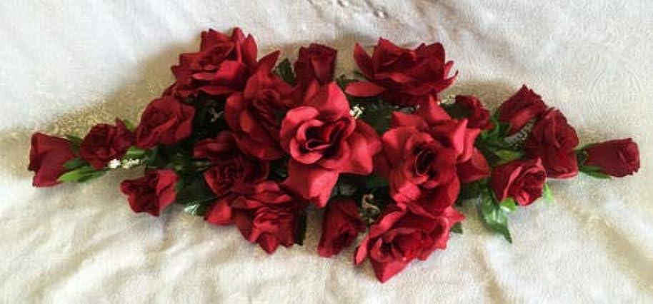 affelegance Burgundy Swag Silk Wedding Flowers Roses Arch Gazebo #AFF01