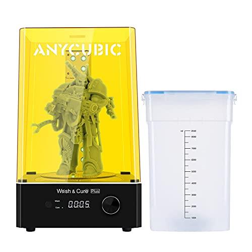 ANYCUBIC Wash and Cure Plus Maschine, 2-in-1 UV Waschen und Aushärten Maschine für LCD/DLP/SLA 3D Drucker Modelle mit 360° Drehbarem Aushärtetisch, Max Waschgröße 192 * 120 * 290 mm