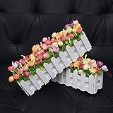 XuanMax 2pcs Roses Kunstblumen mit Zaun Kunstpflanzen mit Topf Künstliche Blumen im Pot Künstliche Pflanzen Gefälschte Topfpflanzen Bonsai Dekoartikel Ornamente 30 * 7.5 * 12cm – Farben Mischen - 5