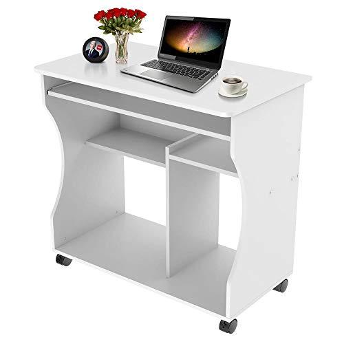 Yaheetech Mesa de Oficina con Bandeja Extraíble Blanca Mesa Escritorio Ordenador con Ruedas para Gaming Mesa con Cajones para PC Impresora Despacho Estudio 80x48x76 cm
