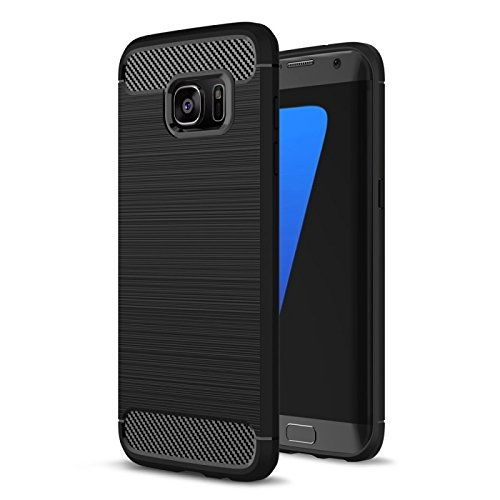 COPHONE Funda compatible con Samsung Galaxy S7 EDGE, Negro Silicona Funda para Galaxy S7 EDGE Carcasa Fibra De Carbono Funda Case