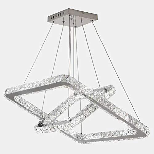 LIKE99 Candelabros de cristal modernos de 48 vatios Candelabro LED Luces colgantes Candelabro cuadrado de acero inoxidable, candelabro de cristal de 2 capas