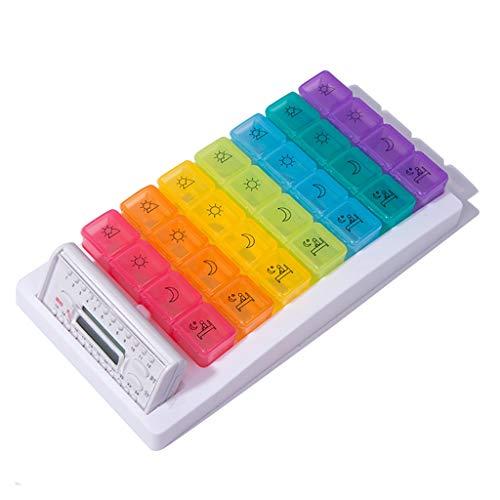 Jinxin-Box elektronische pillendoos 7 dagen elektronische pill organizer met alarm, 28 vakken