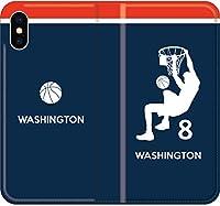 【全機種対応】 バスケ iPhone Xperia Galaxy 楽天Mobile UQ Yモバ Android シルエット スマホケース 手帳型 カバー(アウェイ/ワシントン:8番_A) 18 その他機種_Mサイズ:横80mm×150mm