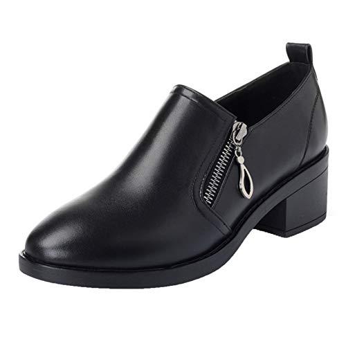 Zapatos Casuales de Cuero para Mujer, Elegantes, Puntiagudos, sólidos, de tacón bajo y Grueso, Cremallera Lateral, Zapatos de tacón de cuña cómodos y concisos