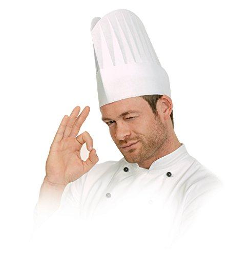 Franz Mensch 10 Stück Kochmütze Mütze Excellent Weiß aus geprägtem Papier, Höhe 22 cm