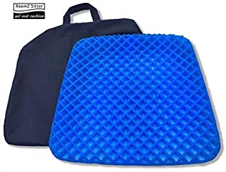 Gel Seat Cushion & Non-Slip Cover; Honeycomb Egg Crate Design Sitter Absorbs Pressure Points, Orthopedic Memory Foam Helps Back, Tailbone & Sciatica Pain Relief; Office Chair, Car Seat,Wheelchair