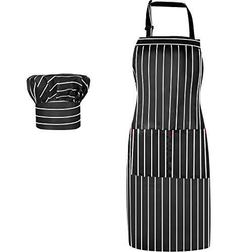 Gingham Solid Color Cotton Fabric Chef's Hat and Cooking Retro Apron with Pockets Adjustable Apron Chef Cap Adult Party Accessory for Christmas (Black and White)