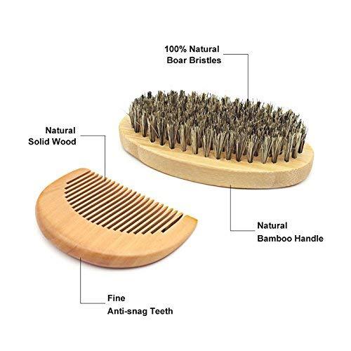 Beard Care Kit Beard Trimming Kit Beard Grooming Kit for Men(Boar Bristle Brush,Wooden Comb, Unscented Beard Oil 30g, Beard Balm Butter Wax 30ml,stainless Steel Scissors) Gift Set- 7Pcs (7Pcs)
