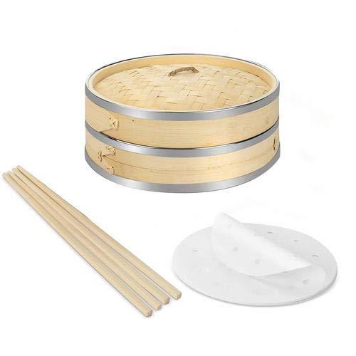 Vaporera de Bambú 20cm 2 Pisos con Banda de Acero Inoxidable - incluye 2 Pares de Palillos y 50 Papeles de Cera, Mejor para Dim Sum, verduras, carne y pescado