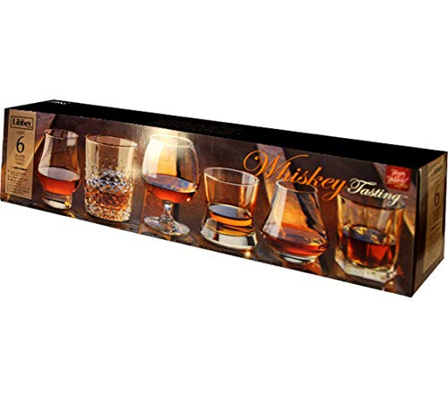 Libbey Whiskey Tasting Glasses, Assorted Sizes and Styles, Giftable Box, 6 Count