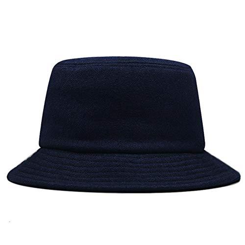 UKKD Bucket hat Big Head Men Large Size Wool Fisherman Hat Male Winter Panama Cap Man Plus Size Felt Bucket Hat 56-60Cm 60-65Cm,Navy Blue,60-65Cm