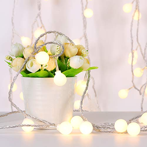 LED Globe String Lights, Globe Christmas Tree Lights, 33ft 100 LED Warm White Ball String Lights Plug in, Waterproof Outdoor Decoration lights for Christmas/Bedroom/Patio/Party/Dorm, 8 Lighting Modes
