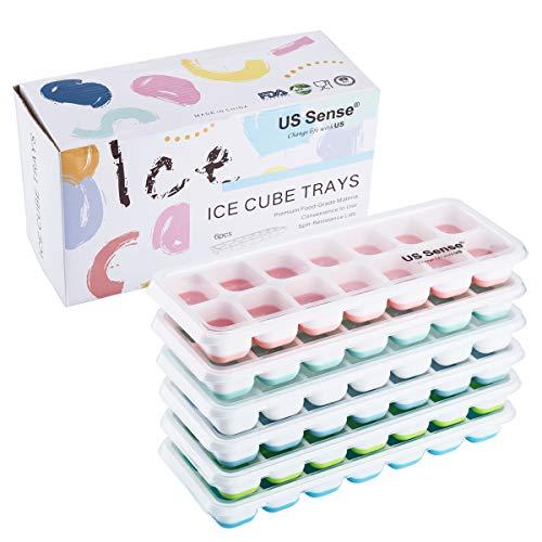 US Sense Stampo per cubetti di ghiaccio con coperchio - Facile vassoio per cubetti di ghiaccio in plastica con 14 blocchi (6 pezzi con colori diversi)