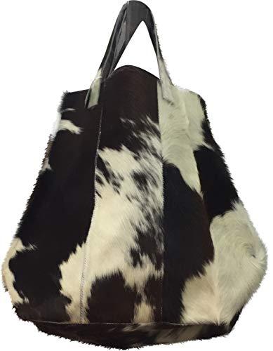 StylishTote Bag BESS in Schwarz-Weiß Rindsleder