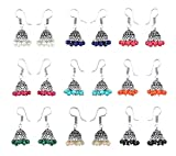 Yellow Chimes Stylish Combo Lively Colors Golden Silver Oxidized Traditional Jhumki/Jhumka Earrings