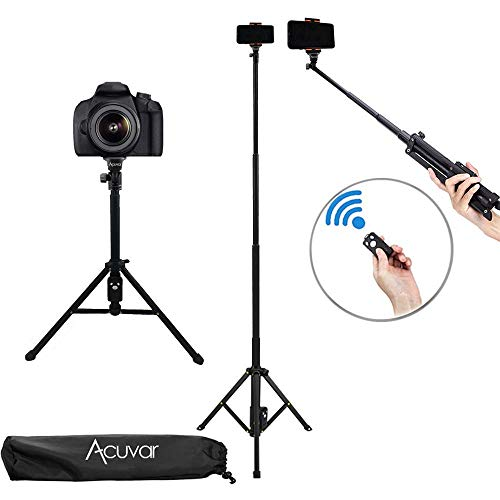 """Acuvar 54"""" Inch Aluminum Extendable Monopod Tripod/Selfie Stick with Universal Smartphone Mount + Wireless Remote Control Camera Shutter for All Smartphones"""