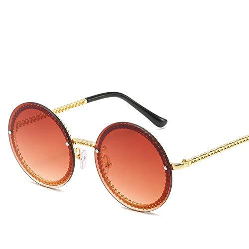 HAOMAO Gafas de Sol Redondas sin Montura para Mujer Shades Goldred