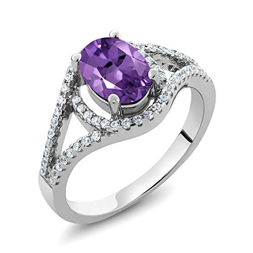 Gem Stone King 925 Sterling Silver Purple Amethyst Women's Ring (1.81 Cttw Oval Gemstone Birthstone, Available in size 5, 6, 7, 8, 9)