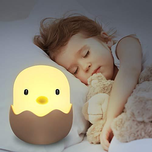 LED Nachtlicht Kinder, solawill Silikon LED Nachtlampe Baby Nachtleuchte mit Touch Schalter USB Aufladbar Schlummerleuchten für Babyzimmer, Schlafzimmer, Wohnräume, Camping Warmes weißes licht