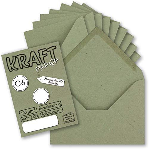 50x Krafpapier Umschläge DIN C6 Grün - 11,4 x 16,2 cm ohne Fenster - Vintage Briefumschläge mit Nassklebung Spitzklappe - NEUSER PAPIER