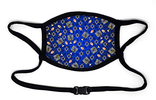 Buttonsmith Hanukkah Adult XL Adjustable Face Mask with Built-in Lanyard - Made in The USA