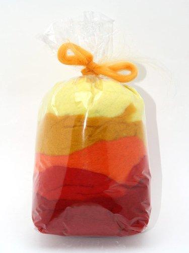 Filzwolle / Bunt, gemischte Märchenwolle im Vlies in Gelb-Rot-Mix