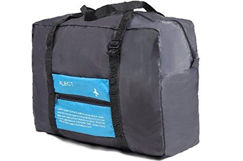 ALECT コンパクト収納 スーツケースの持ち手に通せる 携帯用折りたたみバック ブルー 超軽量 トラベルバック ボストンバック