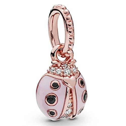 WUXEGHK Collar De Mariquita Rosa De La Suerte De Oro Rosa Original con Colgante En Forma De Plata De Ley 925, Pulsera con Dijes, Brazalete, Joyería DIY