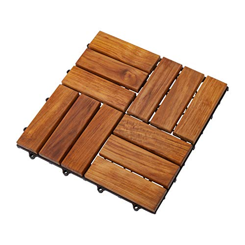 Nordic Style Oiled Teak Interlocking Tiles - Wooden Floor Tile Set for Indoor and Outdoor Use - Perfect for Sauna, Patio, Deck, Spa Floors - Easy Lock Solid Wood Slats with Oil Finish - 10 Square Feet