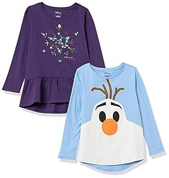 Spotted Zebra Girls  Kids Disney Star Wars Marvel Princess Long-Sleeve T-Shirts 4-Pack Frozen Elsa & Olaf Small