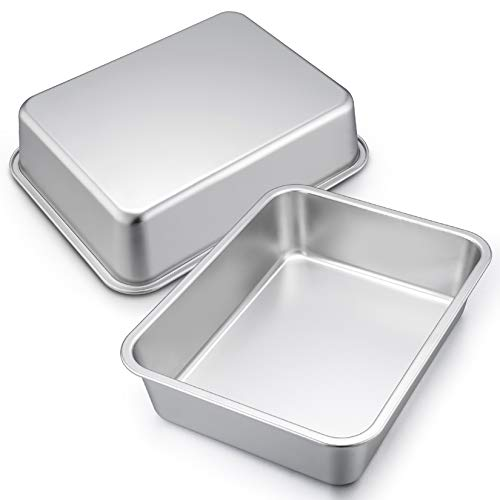 12.7-inch Lasagna Baking Pan Set of 2, P&P CHEF Stainless Steel Deep Roasting Pans for Brownie, Bread, Meat, Deep Dish & Round Corner, Easy Clean & Dishwasher Safe - Rectangular