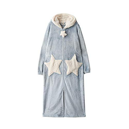 FHISD Pijamas Populares de camisón para Mujer, camisón de Terciopelo de Coral, Pijamas de Espesamiento de Terciopelo, Albornoz Largo Suelto, Regalos de Invierno