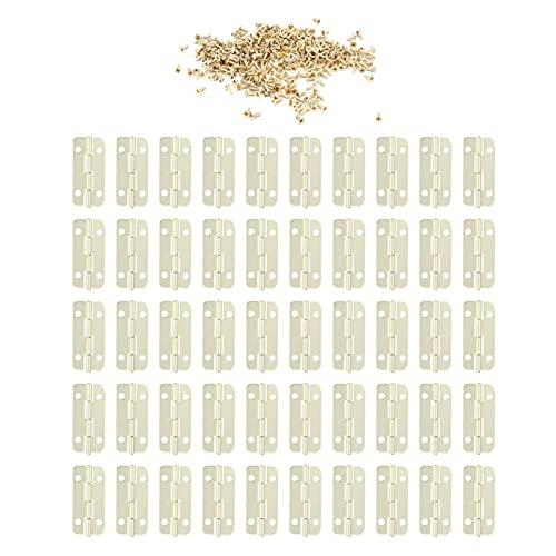 Juego de 50 bisagras redondeadas con tornillos de instalación, herrajes de hierro para bisagras de gabinete para caja de puerta de madera, gabinetes, mesas