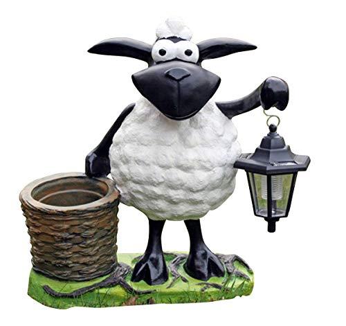 Fachhandel Plus Deko-Schaf mit LED-Lampe und Pflanztopf, Dekofigur zum Bepflanzen, lustige Tierfigur