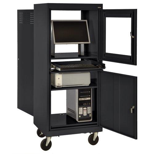 "Sandusky JG2663-09/BLK Black Steel Mobile Computer Security Workstation, 150 lbs Capacity, 26"" Width by 63"" Height by 24"" Depth"