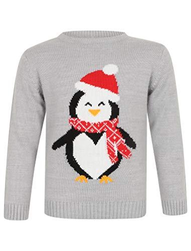 Merry Christmas Kinder gestrickter Pinguin-Weihnachtspullover (5/6 Jahre, Grau)